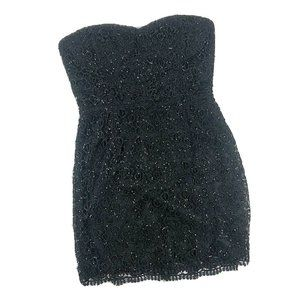 XXI Black Sequined Crotchet Lace Strapless Dress